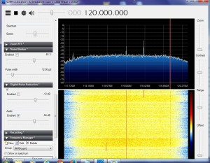 A 2 1/2 MHz slice of the VHF aviation band at the DFW Airport.  The RTL2832 tuner doesn't seem to receive these too well.