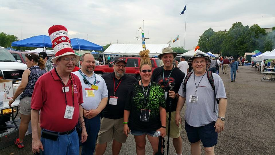 Some of the members of our Hamvention group - Joe K0NEB, Bill AD8BC, Bob KA9MDP, Kristen KB3OQV, Gregg N8ONW, and Brad W8PAL -- in the flea market at Hamvention 2015