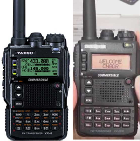 Yaesu VX-8DR (left) vs VEASU UV-8DR (right). Left image courtesy of Yeasu. Right image shamelessly stolen from a Youtube video from 409shop.